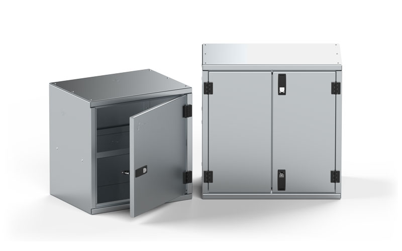 Aluminum Cabinets with Black Powder Coated Hinges and Locking Latches
