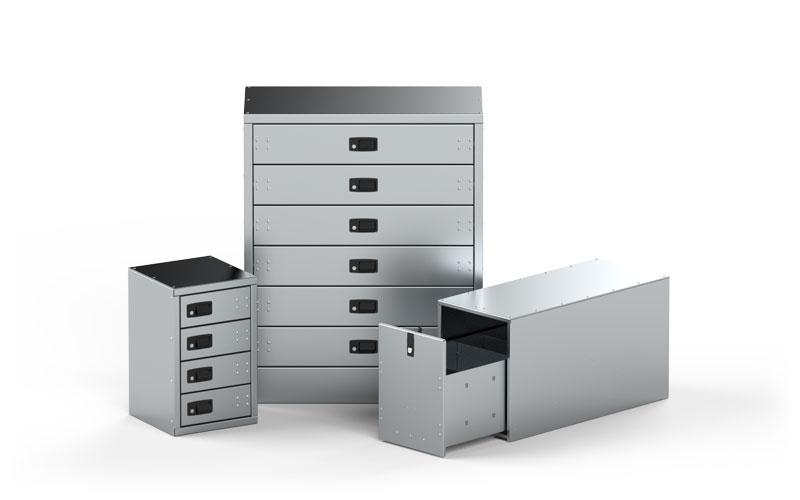 Aluminum Locking Single and Multi Drawer Units