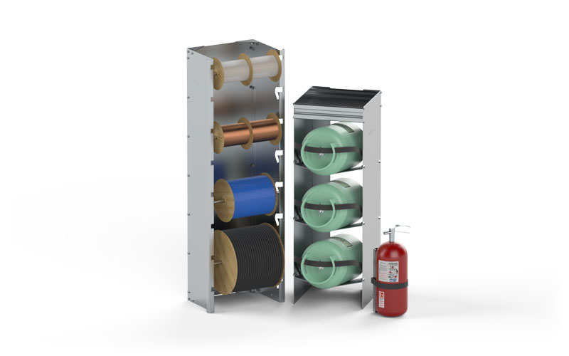 Assorted Aluminum Spool and Cylinder Storage Options